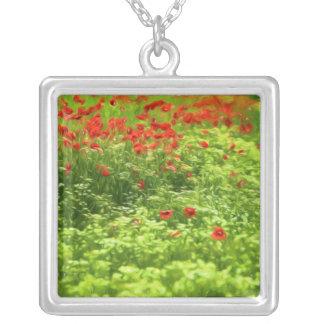 Wonderful poppy flowers V - Wundervolle Mohnblumen Silver Plated Necklace