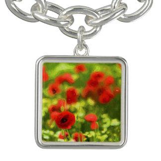 Wonderful poppy flowers VI - Wundervolle Mohnblume Charm Bracelet