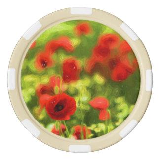 Wonderful poppy flowers VI - Wundervolle Mohnblume Poker Chips Set