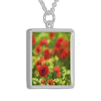 Wonderful poppy flowers VI - Wundervolle Mohnblume Sterling Silver Necklace