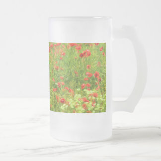 Wonderful poppy flowers VII - Wundervolle Mohnblum Frosted Glass Beer Mug