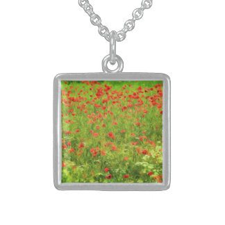 Wonderful poppy flowers VII - Wundervolle Mohnblum Sterling Silver Necklace