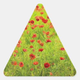 Wonderful poppy flowers VIII - Mohnbluhmen Triangle Sticker