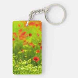 Wonderful poppy flowers VIII - Wundervolle Mohnblu Double-Sided Rectangular Acrylic Keychain