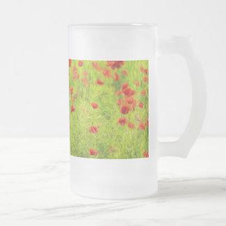 Wonderful poppy flowers VIII - Wundervolle Mohnblu Frosted Glass Beer Mug