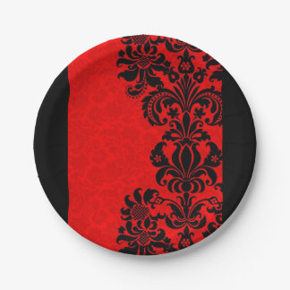 wonderful red and black baroque paper plates