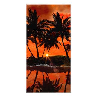 Wonderful red sunset customized photo card