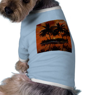 Wonderful red sunset over the island pet t-shirt