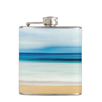 Wonderful Relaxing Sandy Beach Blue Sky Horizon Flask