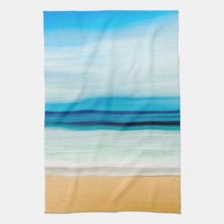 Wonderful Relaxing Sandy Beach Blue Sky Horizon Kitchen Towel