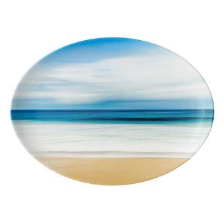 Wonderful Relaxing Sandy Beach Blue Sky Horizon Porcelain Serving Platter