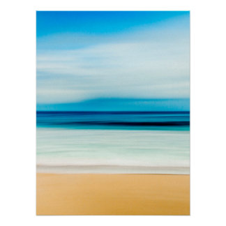 Wonderful Relaxing Sandy Beach Blue Sky Horizon Poster