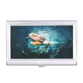 Wonderful  Sea Turtle Ocean Life Turquoise Sea Business Card Case