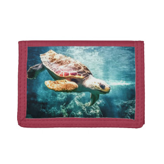 Wonderful Sea Turtle Underwater Life Trifold Wallets