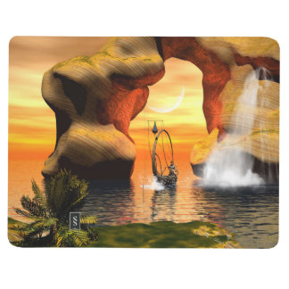 Wonderful seascape with rock and lamp boat journal