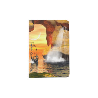Wonderful seascape with rock and lamp boat passport holder