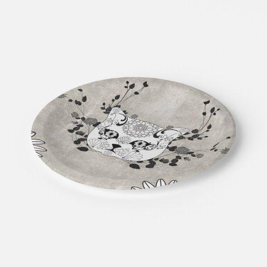 Wonderful sugar cat skull 7 inch paper plate