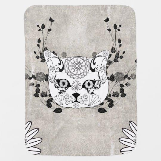 Wonderful sugar cat skull baby blanket