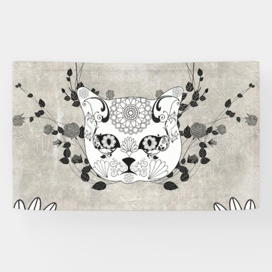 Wonderful sugar cat skull banner