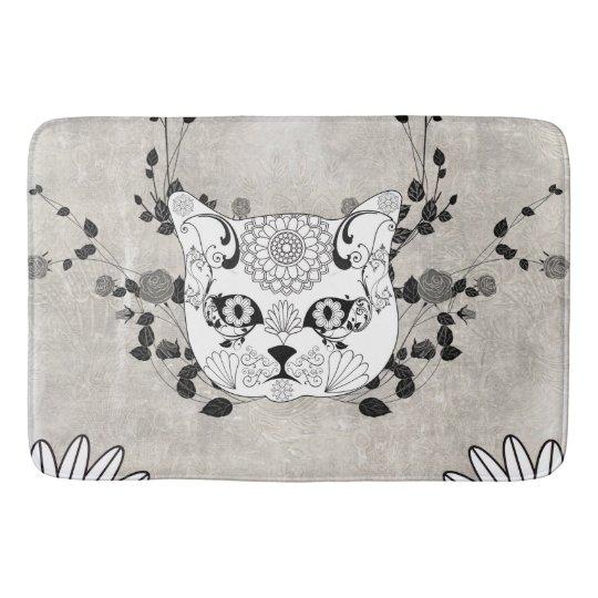Wonderful sugar cat skull bath mat