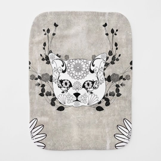 Wonderful sugar cat skull burp cloth
