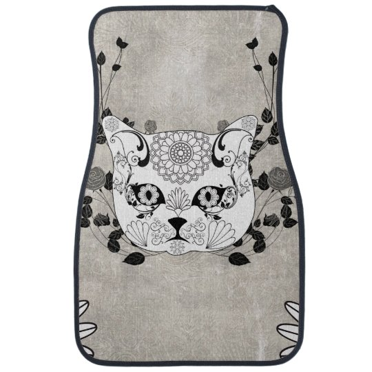 Wonderful sugar cat skull car mat