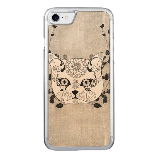 Wonderful sugar cat skull carved iPhone 7 case