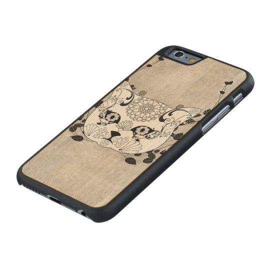 Wonderful sugar cat skull carved maple iPhone 6 case