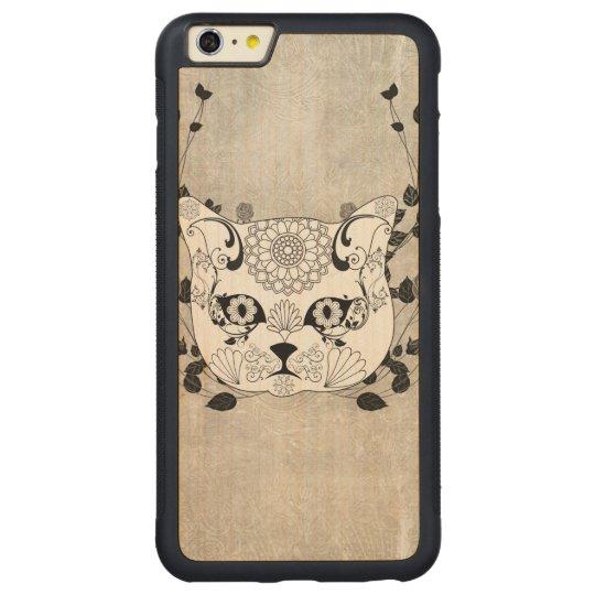 Wonderful sugar cat skull carved maple iPhone 6 plus bumper case