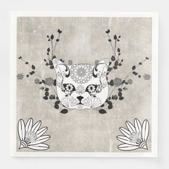 Wonderful sugar cat skull disposable napkins