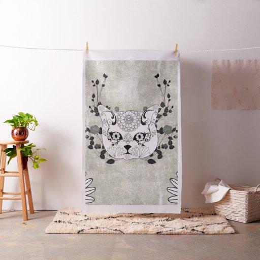 Wonderful sugar cat skull fabric