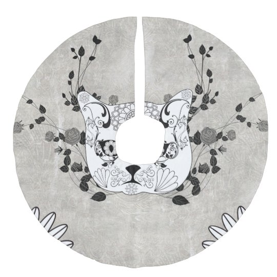 Wonderful sugar cat skull faux linen tree skirt