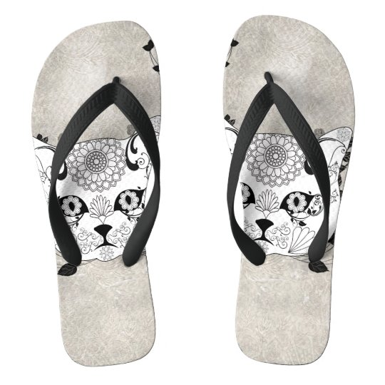 Wonderful sugar cat skull flip flops