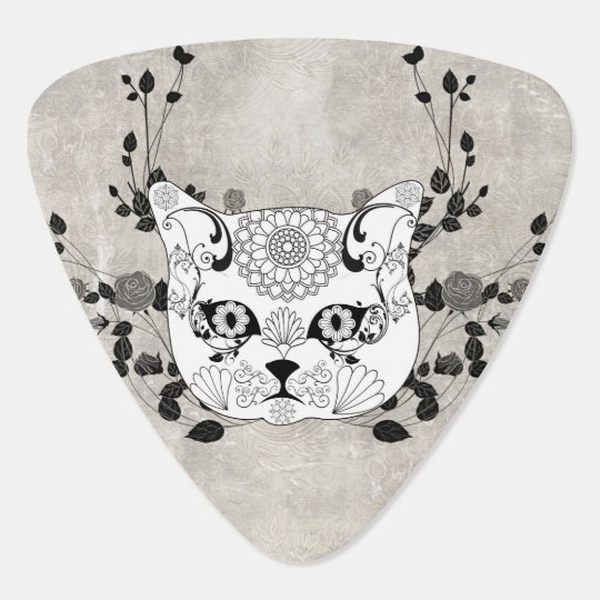 Wonderful sugar cat skull guitar pick