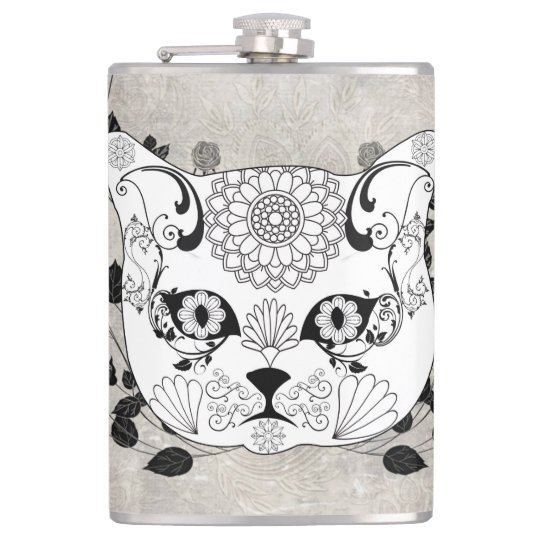 Wonderful sugar cat skull hip flask