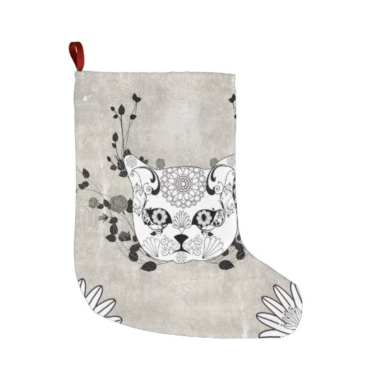 Wonderful sugar cat skull large christmas stocking