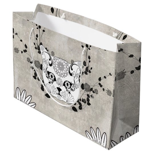 Wonderful sugar cat skull large gift bag