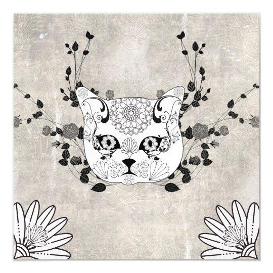 Wonderful sugar cat skull magnetic invitations