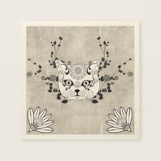 Wonderful sugar cat skull paper napkin