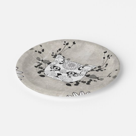 Wonderful sugar cat skull paper plate