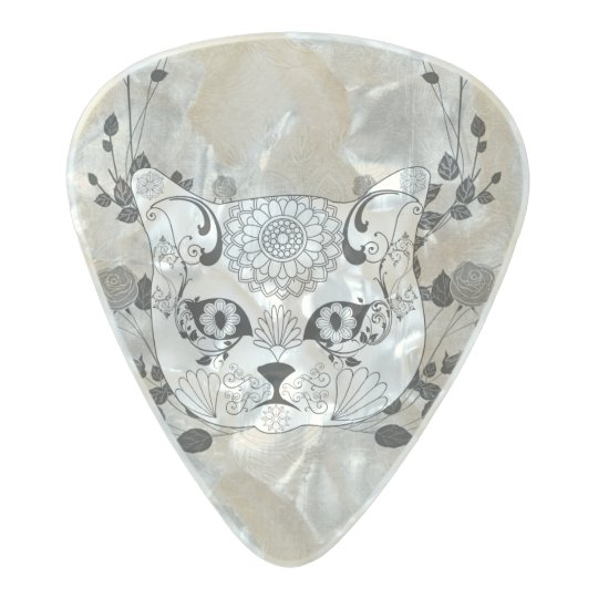 Wonderful sugar cat skull pearl celluloid guitar pick