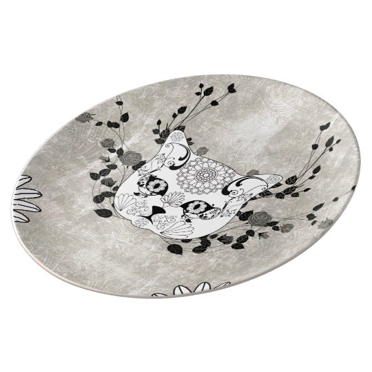 Wonderful sugar cat skull porcelain plates