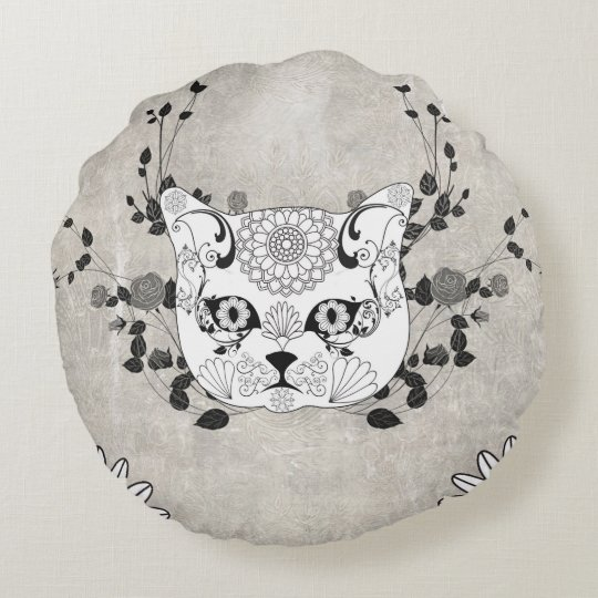 Wonderful sugar cat skull round pillow