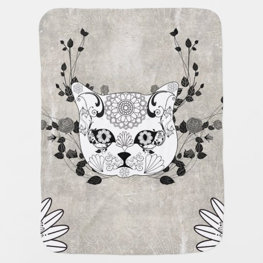 Wonderful sugar cat skull stroller blanket