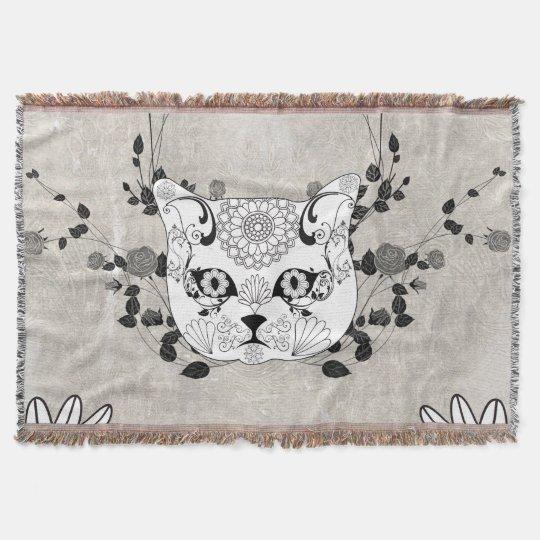 Wonderful sugar cat skull throw blanket