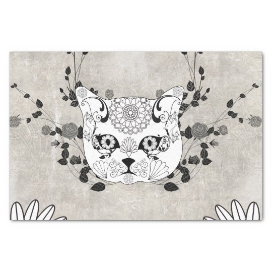 Wonderful sugar cat skull tissue paper