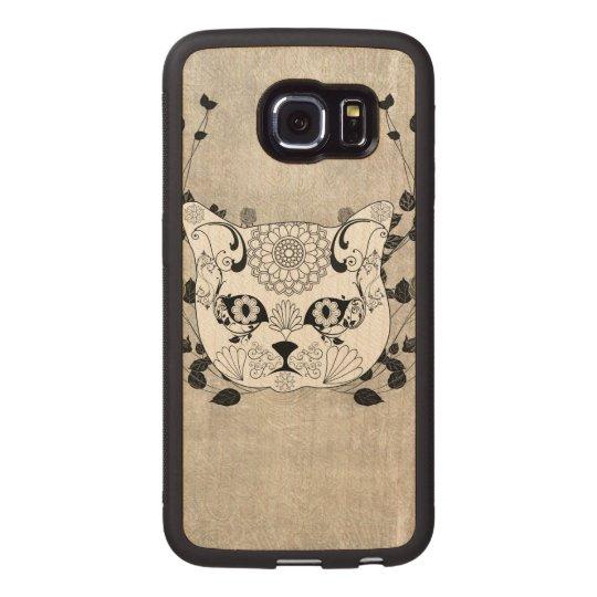 Wonderful sugar cat skull wood phone case