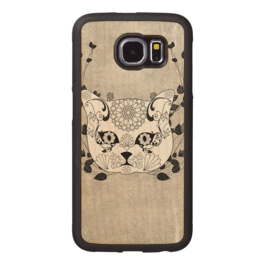 Wonderful sugar cat skull wood phone case