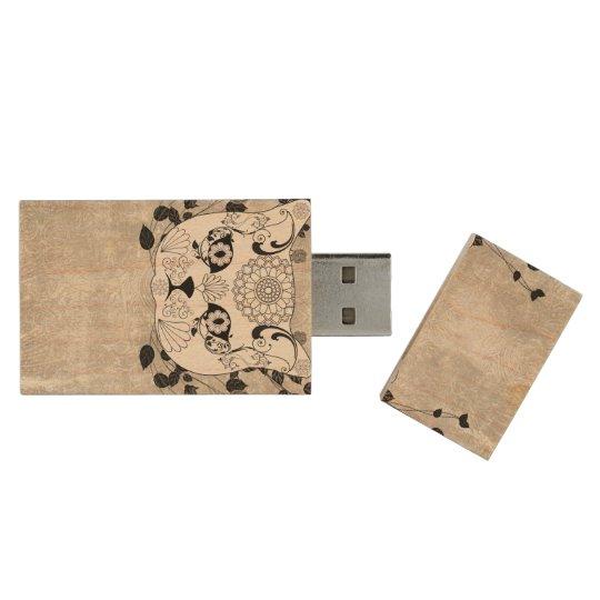 Wonderful sugar cat skull wood USB 2.0 flash drive