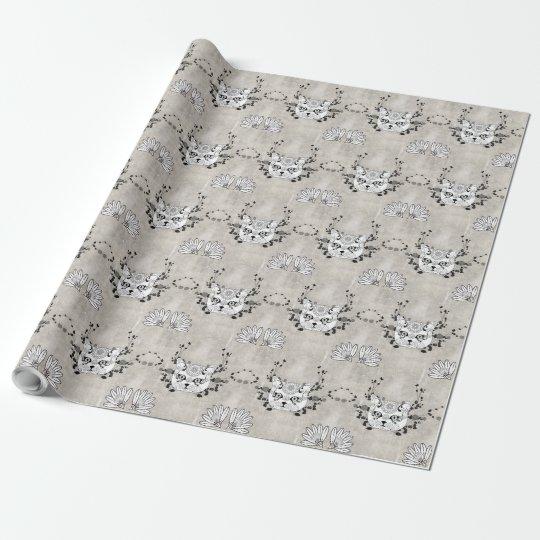Wonderful sugar cat skull wrapping paper